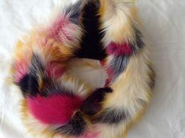 Меховой шарф-снуд с имитацией лоскутков.Новый