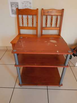 Wooden chairs and ply table