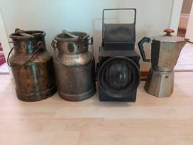 Old Milk cans, Trainlamp , coffee kettle