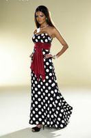 Корсетное вечернее платье в горошек с красным поясом