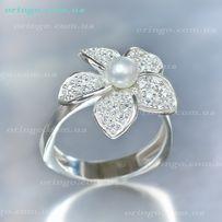Кольцо Орхидея серебро 925 проба.