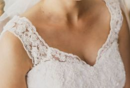 suknia ślubna lipiec 2016 koronka i muślin