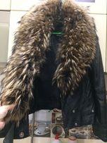 Кожаная куртка с мехом енота СРОЧНО