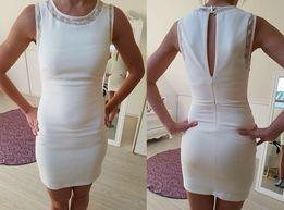 Zara kremowa sukienka koktajlowa rozmiar 34/XS