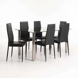 DIAZ GLASS DINING TABLE & 6 X BENNY DINING CHAIR