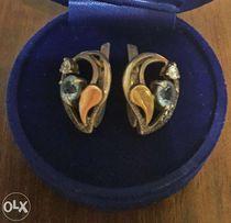 Серебряные серьги с золотой вставкой и топазами ( серебро + золото )