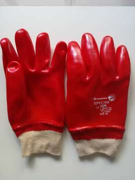 PVC RED KNITTED WRIST GLOVE