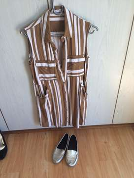 Brown and white striped dress
