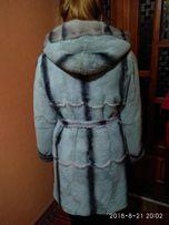 шуба бобер, норка,норковая серо-голубая р.46-48