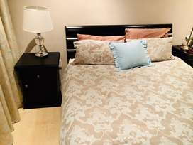 Queen bed - mattress, bedsides cabinet, headboard and base