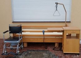 Łóżko rehabilitacyjne elektryczne + materac +szafka+wózek wc+wysięgnik