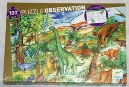 Puzzle Observation 100 el. Dinozaury + książeczka 5+