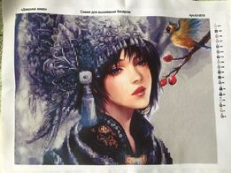 Схема для вишивання бісером «дівчина зима»