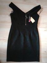 Czarna, mieniaca się sukienka na sylwestra