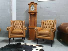 BRAND NEW Genuine Leather Wingback Chairs, Diamond Backs, AVAILABLE,