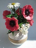 Букет цветов анемоны из холодного фарфора. Ручная авторская работа.