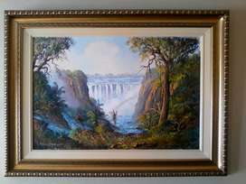 Oil painting by Les Albertyn of Victoria waterfall 2010