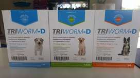 Triworm d dewormer for controll of intestinal worms in dogs