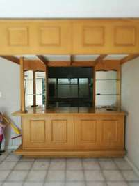 Image of Built in solid wood bar