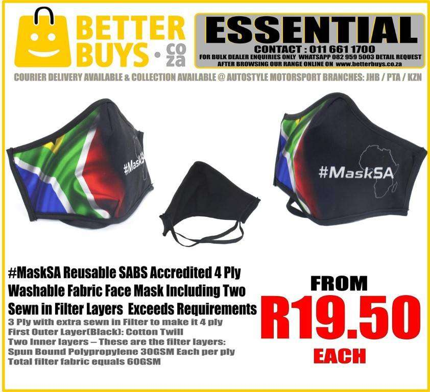 Reusable Fabric Washable Face Mask with two sewn in filters From   R19 0