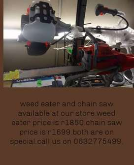 Weed eater and chain saw.