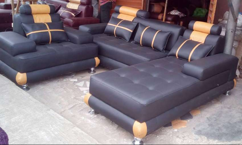 Set of L-shaped sofa with a single seater chair, couch. Black 0