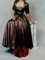 ZŁOTA długa , suknia / sukienka - balowa / wieczorowa M + bolerko