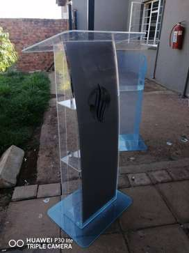 U Shape Grey Full Front Perspex Podium