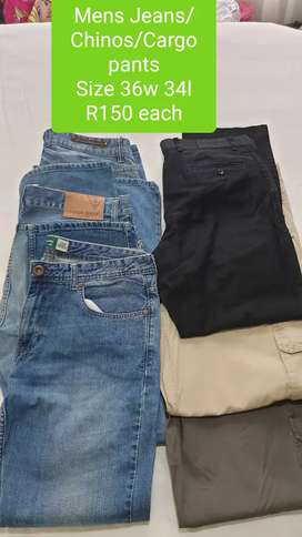 2nd Hand Mens Denims, Chinos & Cargo pants Size 36 R150 each