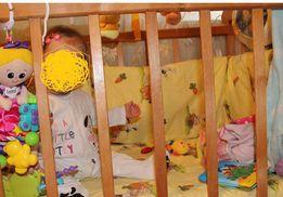 Кроватка+матрас+защита+балдахин
