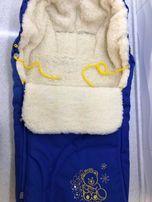 Конверт на овчине Baby Breeze и муфта с накладками в подарок