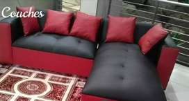 New black and red pleather corner couch