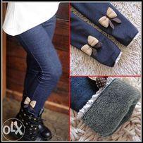 Теплые лосины джинсы, леггинсы, брюки , с мехом для девочек 2-6 лет