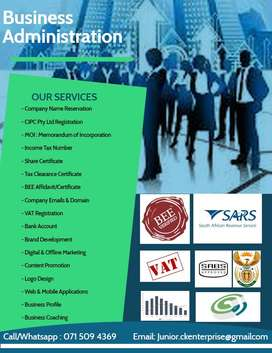 Company registration, tax clearance and returns, business plans