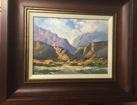 Louis Audie - Original Oil Painting Double Wood Frame Size 66x56cm