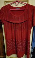Czerwona bluzka koszulka tunika fioletowe kwiatki L XL XXL wysyłka