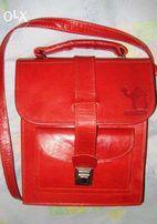 сумка кожаная красная
