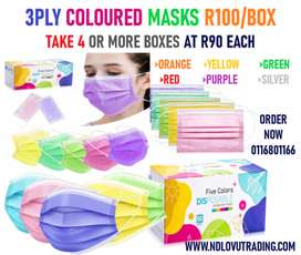 ADULT NEON 3PLY MASKS DIPOSABLE