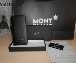 Duży oryginalny czarny PORTFEL MĘSKI Mont Blanc, skóra, Niemcy 16-004