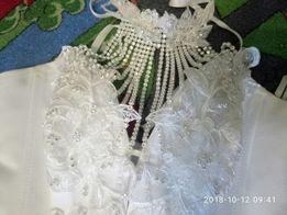 Свадебное платье, фата, перчатки, диадема торг