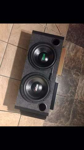 """2x 12"""" subwoofers 3x amplifiers 1x ported sub box"""