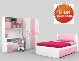 Biurko dla dziewczynki białe różowe POŁYSK z nadstawką z szufladami