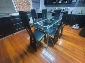 Solid Glass Dining Table with chairs