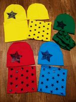 Комплект шапка и хомут, в наличии голубого цвета