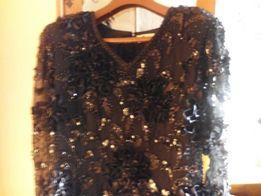 Sukienka Wieczorowo - Sylwestrowa Czarna z aplikacjami cekiny i atłas