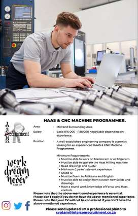 HAAS & CNC Machine Programmer – Midrand Surrounding Areas