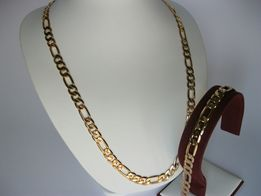 KOMPLET MĘSKI! Wzór FIGARO!Stal chirurgiczna pokryta złotem 60cm.14K.