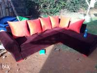 Brown and orange sofa 0