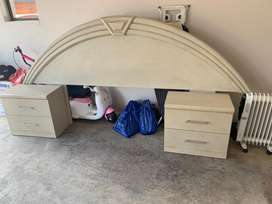 Headboard with double drawer side tables