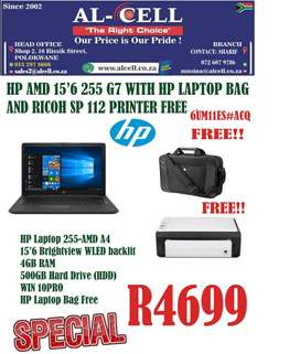 HP 255 G7 LAPTOP WITH HP BAG AND RICOH SP112 FREE